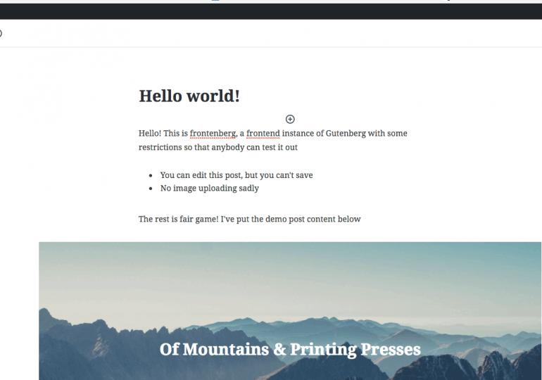 Frontend : un site permettant de tester Gutenberg de Wordpress