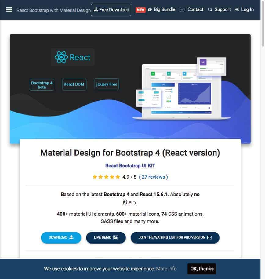 React Bootstrap with Material Design Powerful and free UI KIT Material Design for Bootstrap