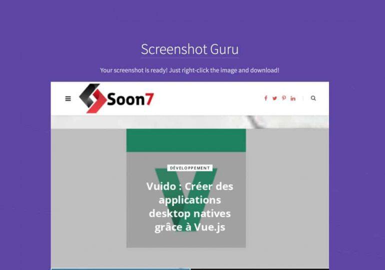 ScreenshotGuru : capture d'écran d'url en png HD