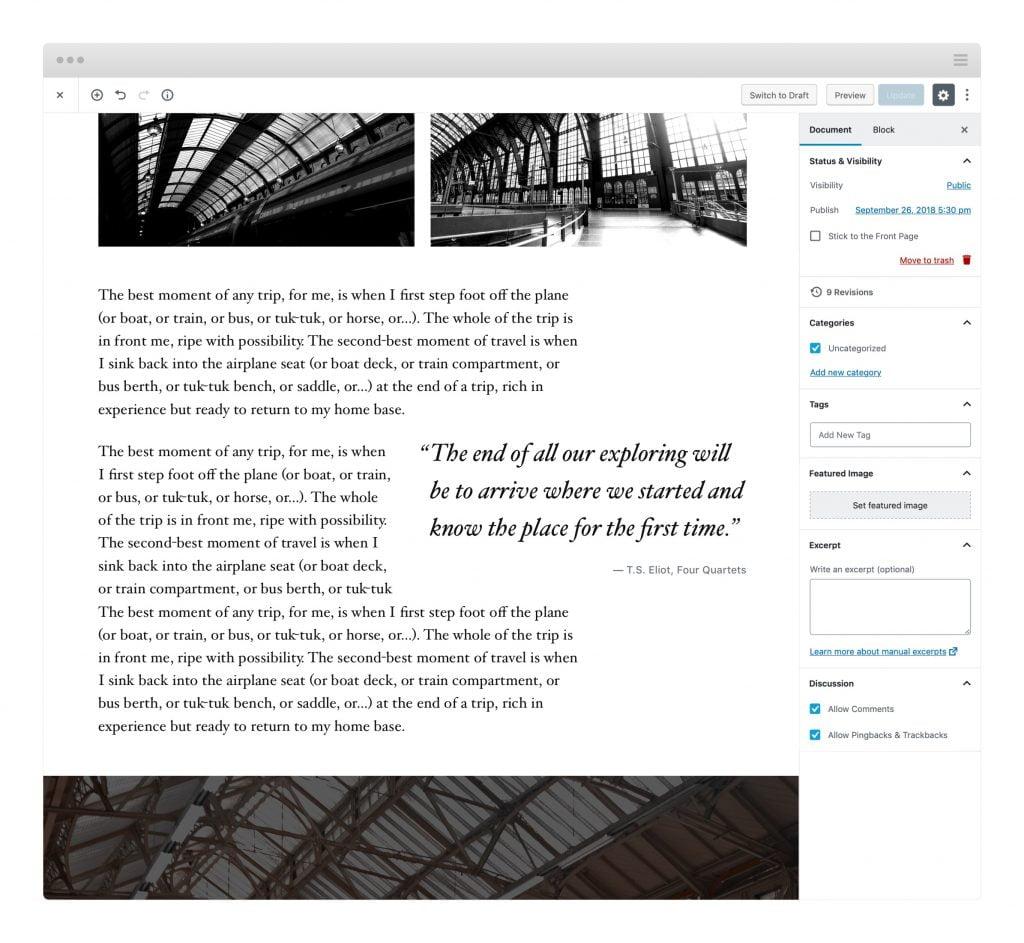 Twenty Nineteen Theme, éditeur Gutenberg