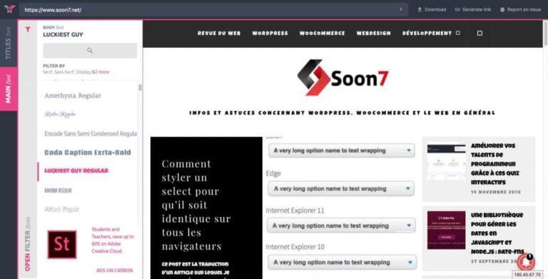 Tester des polices de caractère sur un site en ligne avec Fonty
