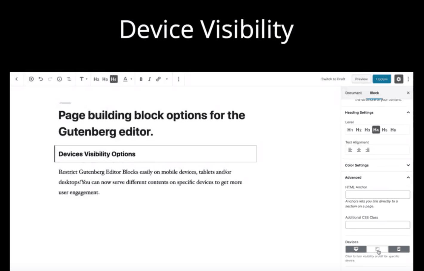 Affichage de bloc Gutenberg en fonction de la taille de l'écran